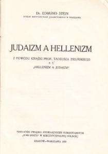"dr Edmund Stein, ""Judaizm a hellenizm"" , Kraków-Warszawa 1929"