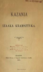 """""""Kazania Izaaka Kramsztyka"""", Kraków 1892"""