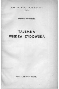 """Zaderecki Tadeusz, """"Tajemna wiedza żydowska"""", Lwów 1937"""