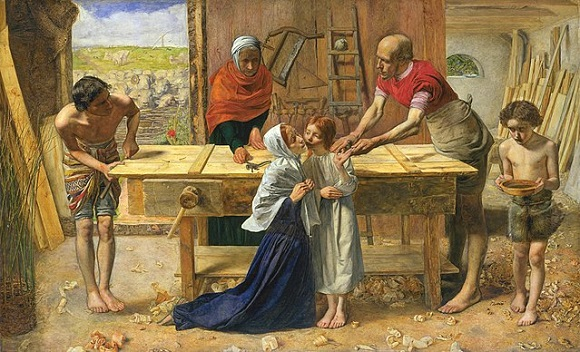 """John Everett Millais, """"Chrystus w domu rodziców"""", 1850"""